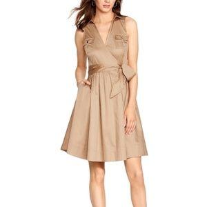 WHBM Sleeveless Safari Tie Waist A-Line Wrap Dress